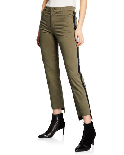 FRAME - Le High Straight Raw Stagger Tuxedo Tape Pants in Army Green