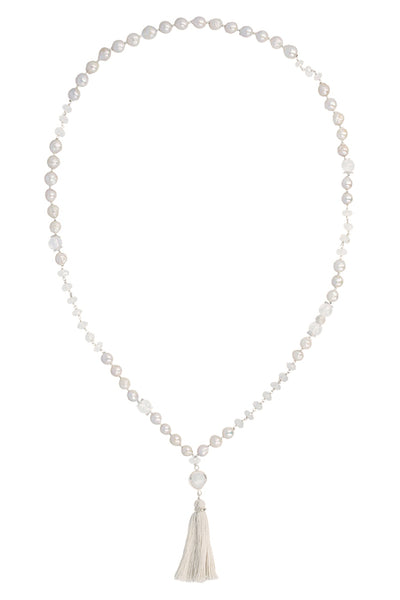 Chan Luu - White Pearl Mix Tassel Necklace