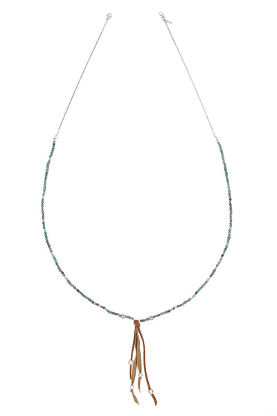 Chan Luu - Green Mix Leather Tassel Necklace
