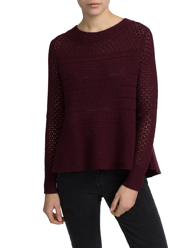 White + Warren Open Work Crewneck Burgundy Heather at Blond Genius - 1