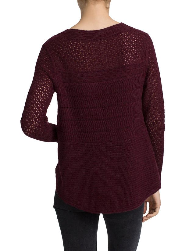 White + Warren Open Work Crewneck Burgundy Heather at Blond Genius - 3
