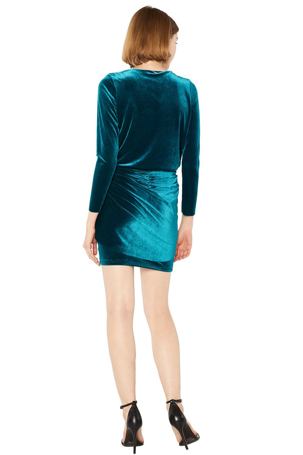 MISA - Ophelie Velvet Dress in Teal
