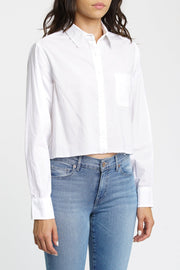 PISTOLA - Sloane Long Sleeve Cropped Poplin Shirt in Blanc