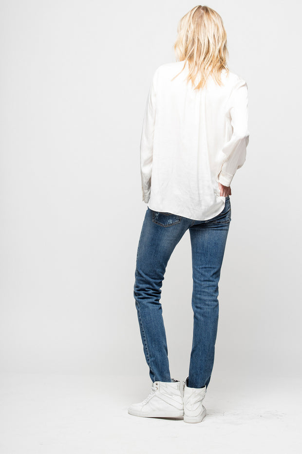 Zadig & Voltaire - Tink Satin Tunic Blouse Blanc