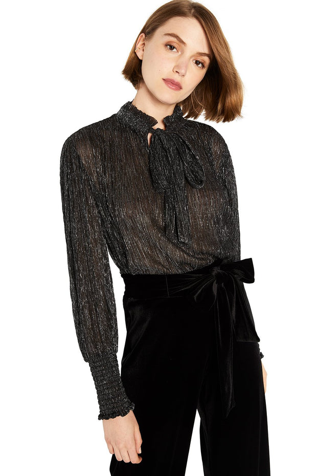 MISA - Panya Top in Metallic Black