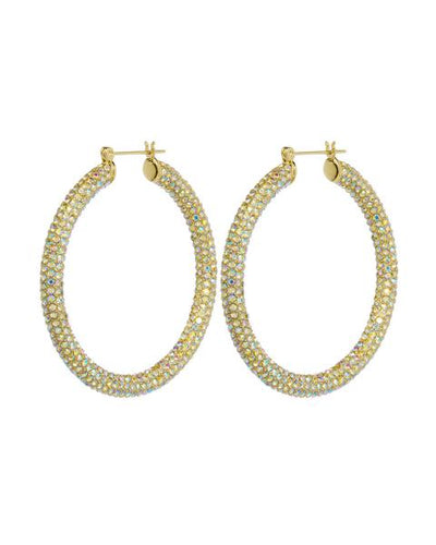 LUV AJ - Pave Amalfi Hoops in Gold Rainbow Crystal