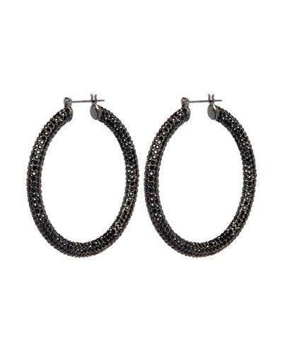 LUV AJ - Pave Amalfi Hoops in Gunmetal Jet