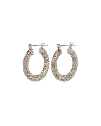 LUV AJ - Pave Baby Amalfi Hoops in Silver Rainbow Crystal