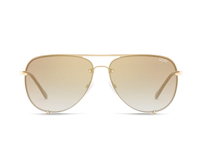 QUAY - High Key Rimless Sunglasses in Gold/Brown/Flash Lens