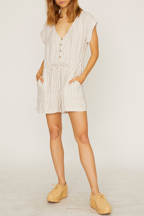 Sanctuary - Leo Soft Short Sleeve Romper Sand Valley Stripe