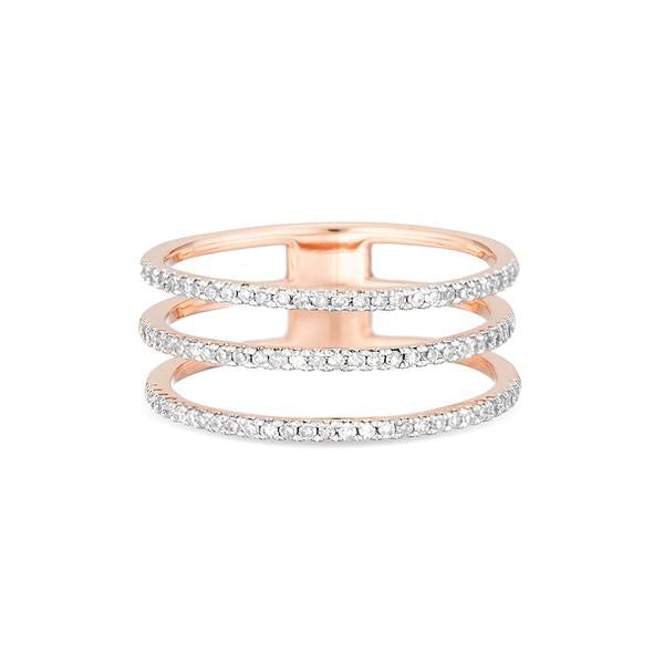 Adina - Pave Diamond Triple Band Ring