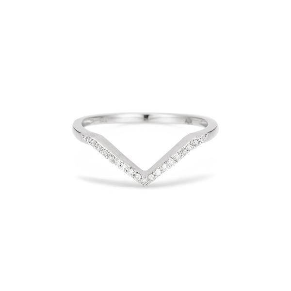 Adina - Pave V Ring Sterling Silver