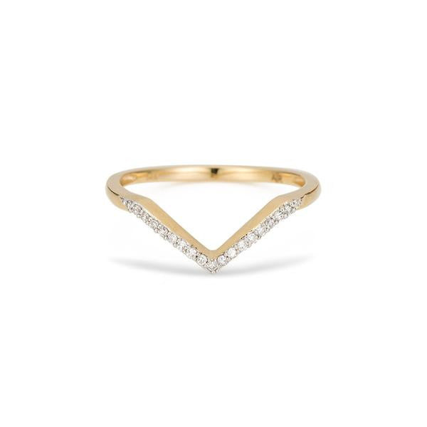 Adina - Pave V Ring Yellow Gold 14K