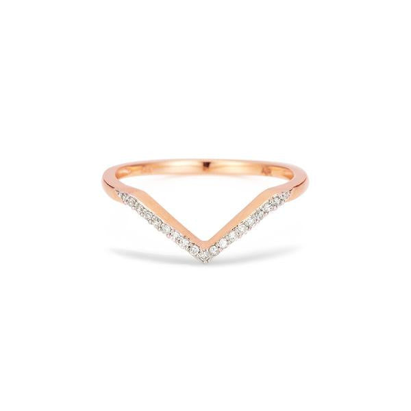 Adina - Pave Diamond V Ring