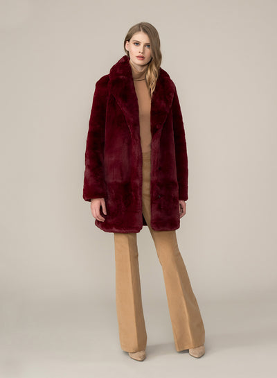 Soia & Kyo  - Renada Faux Fur Coat in Oxblood