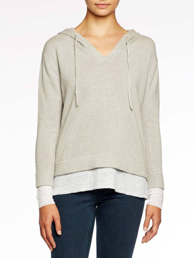 BROCHU WALKER - Ressie Hoodie in Salt Grey Melange with white