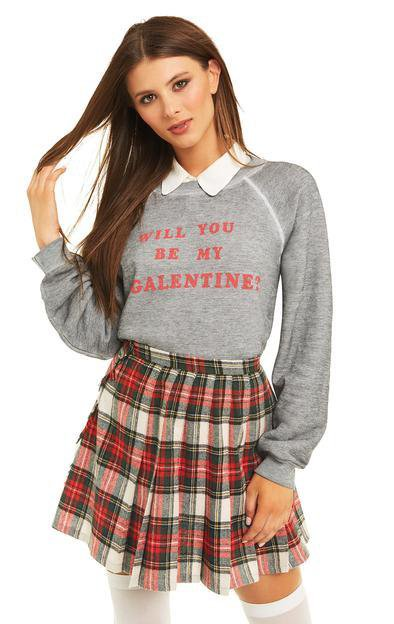WILDFOX - Be My Galentine Sommers Sweater in Heather Grey