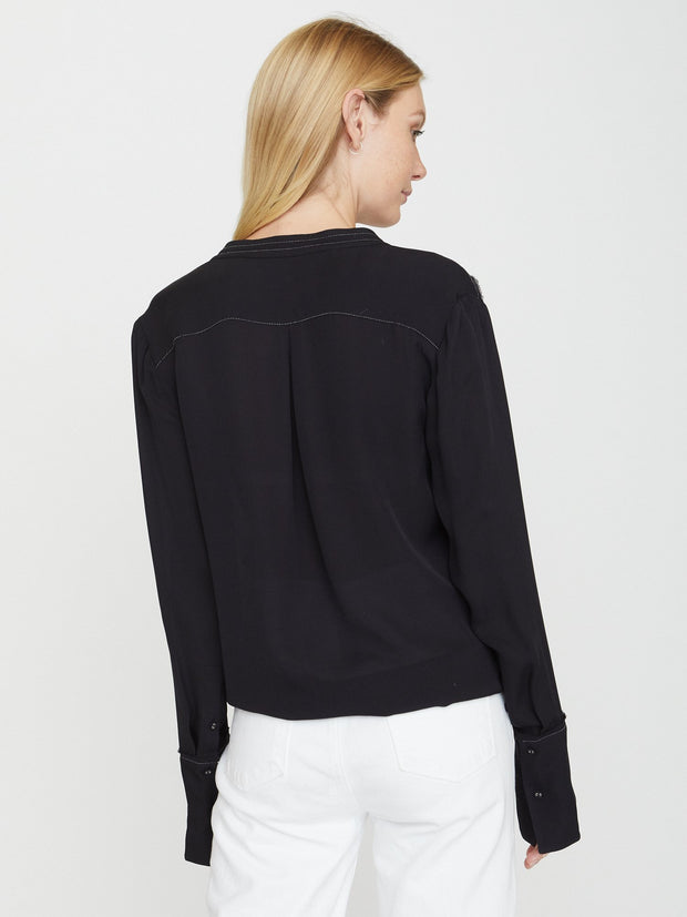 BROCHU WALKER - Seville Stitched Blouse Black Onyx