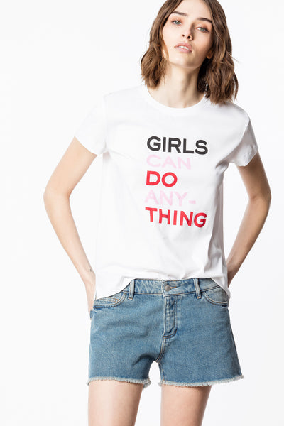 "Zadig & Voltaire - Walk Girls ""Girls Can Do Anything"" Shirt Blanc"