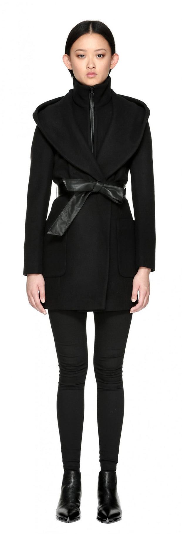 Mackage Siri Hooded Coat w/ belt Black at Blond Genius - 1