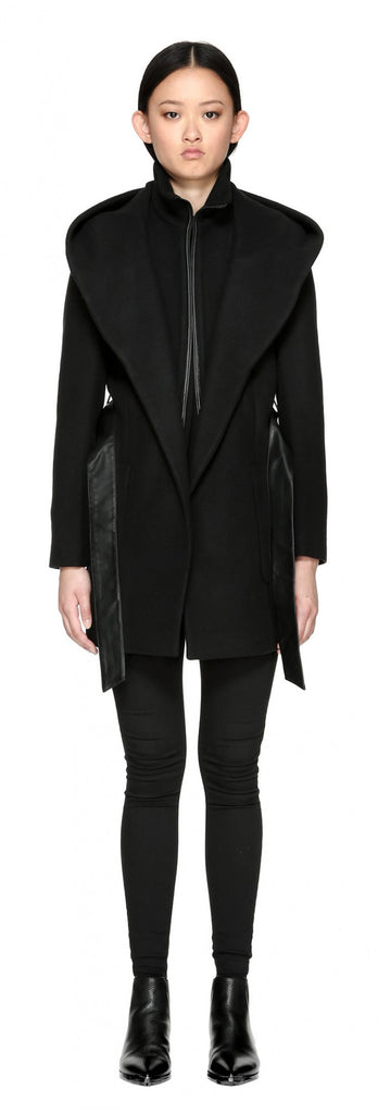 Mackage Siri Hooded Coat w/ belt Black at Blond Genius - 2