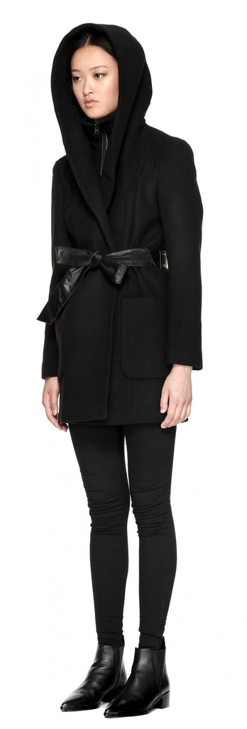 Mackage Siri Hooded Coat w/ belt Black at Blond Genius - 3