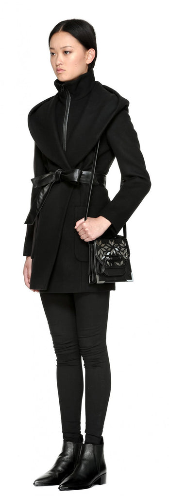 Mackage Siri Hooded Coat w/ belt Black at Blond Genius - 4