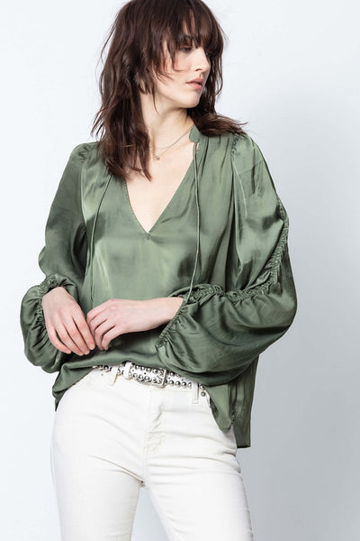 Zadig & Voltaire - Twenty Satin Top in Kaki