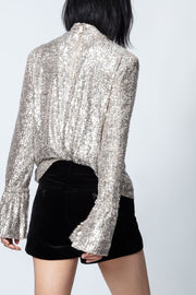 Zadig & Voltaire - Tummy Sequins Top in Nude Silver