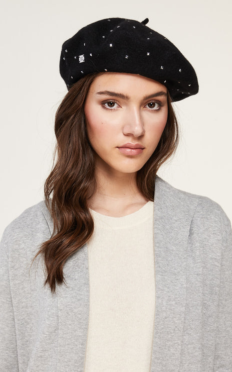 Soia & Kyo - Suzette Studs Beret in Black