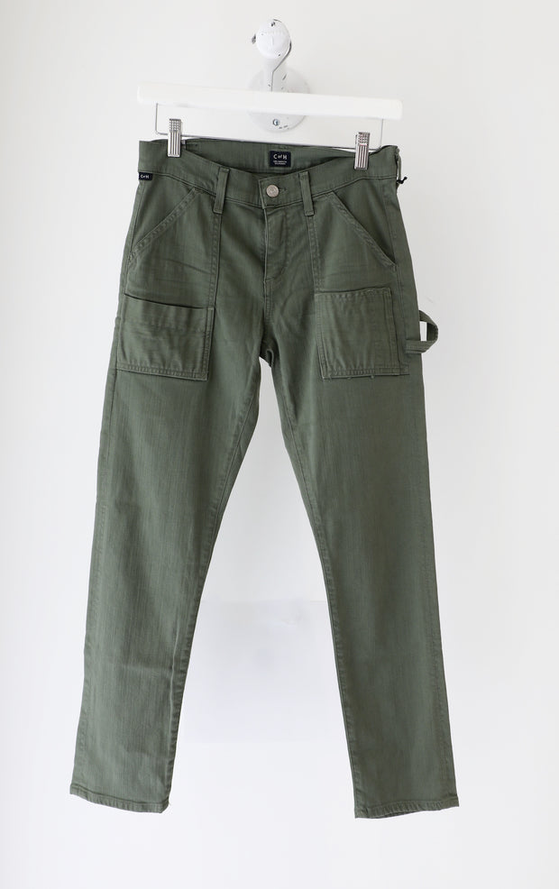 Citizens of Humanity - Twill Leah Cropped Low Rise Loose Pant in Fatigue