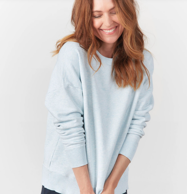Frank & Eileen - Ribbed Knit Pullover in Archie Blue Melange