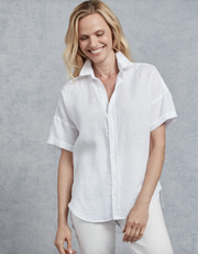 Frank & Eileen - Women's Rose S/S Button Down in White Linen