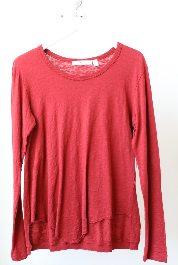 Wilt - Shrunken L/S Crew Pointed Hem in Sangria