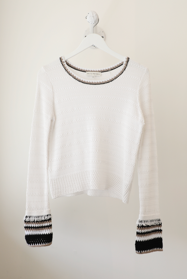 White + Warren - Hand Crochet Trim Crewneck