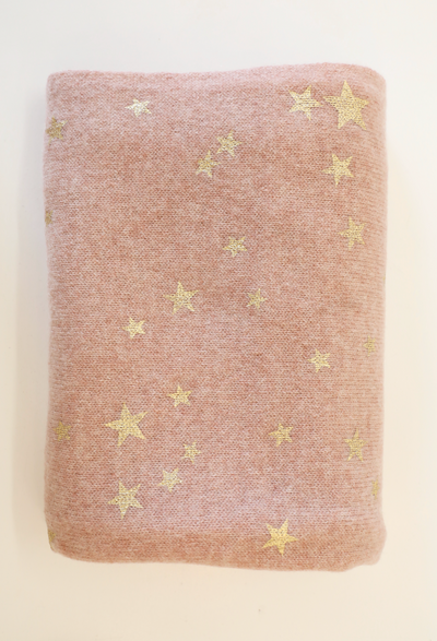 White + Warren - Printed Star Scarf in Pink Moon Heather