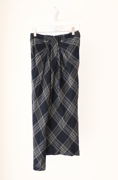 Vince - Textured Plaid Drape Skirt in Marine