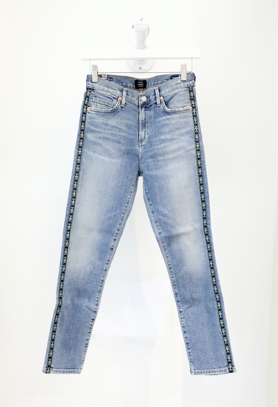 Citizens of Humanity - Rocket Crop HR Skinny in Mateo Stripe