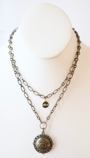 Vintage Gucci Upcycled Italy Long Bezel Necklace Gold