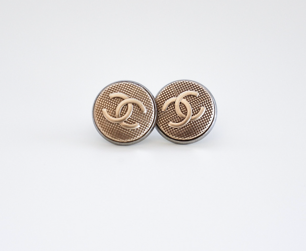 Vintage Chanel Upcycled Earrings Matte Gold