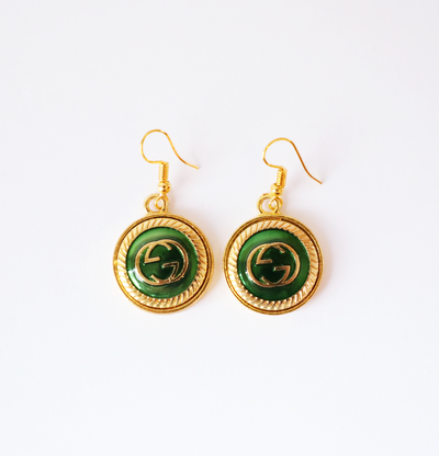 Vintage Gucci Upcycled Drop Earrings Green/Gold