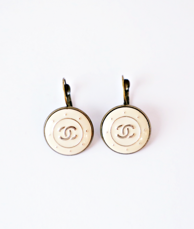 Vintage Chanel Upcycled Drop Earrings Cream