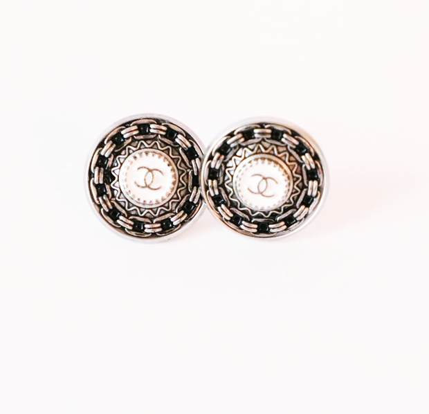 Vintage Chanel Upcycled Earrings White/Silver