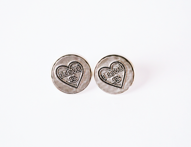 Vintage Chanel Upcycled Heart Earrings Silver
