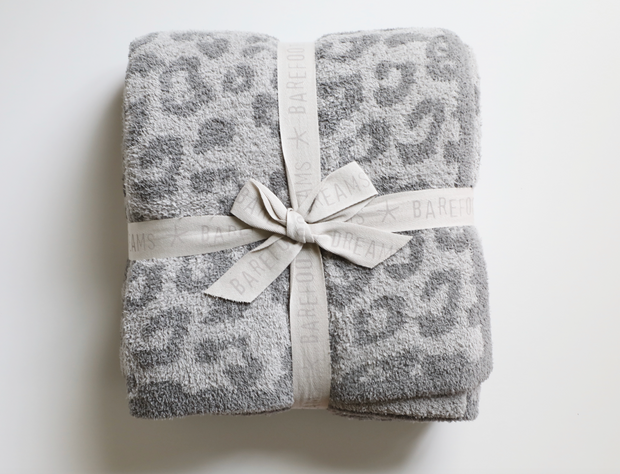 Barefoot Dreams - Cozychic Barefoot in the Wild Adult Throw in Linen/Warm Gray Leopard