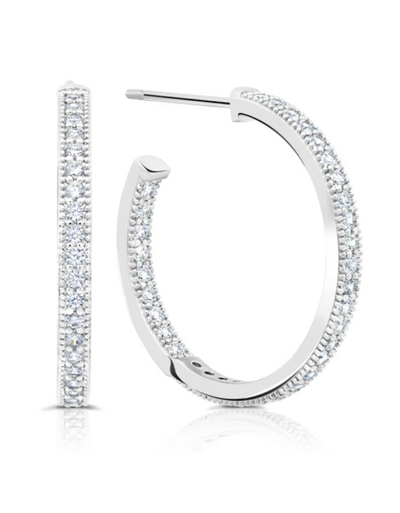 Crislu -  Small Pavé Open Ended Hoops