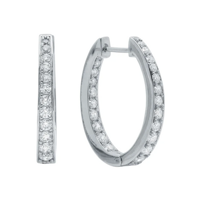 Crislu -  Hinge Hoop Earrings Finished in Pure Platinum