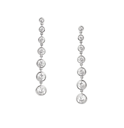 Crislu -  Bezel Set Drop Earrings Finished in Pure Platinum