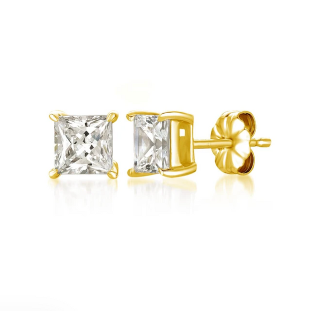 Crislu - Solitaire Princess Earrings Finished in 18kt Gold - 2.5 Carat