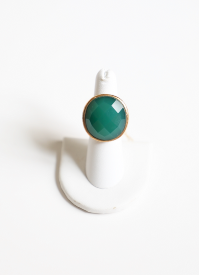MM - Green Agate Round Ring
